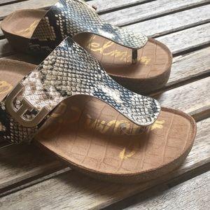 Sam Edelman Leather Snakeskin Embossed Sandals